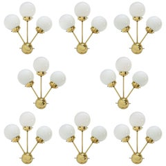 Set of Eight SPACE AGE Sputnik Brass Wall Lamps, 1970s