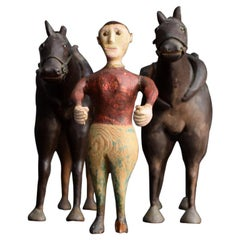 Early 20th Century French Folk Art Horse and Jockey Figures