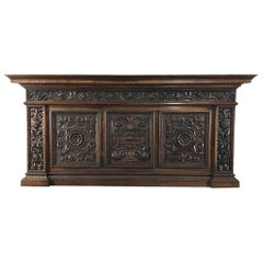 Antique Italian Renaissance Hand Carved Walnut Headboard