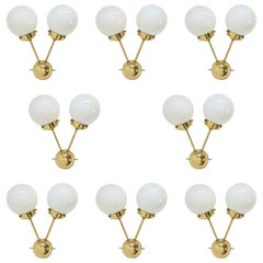 Set of Eight SPACE AGE Sputnik Brass Wall Lamps - 1970s