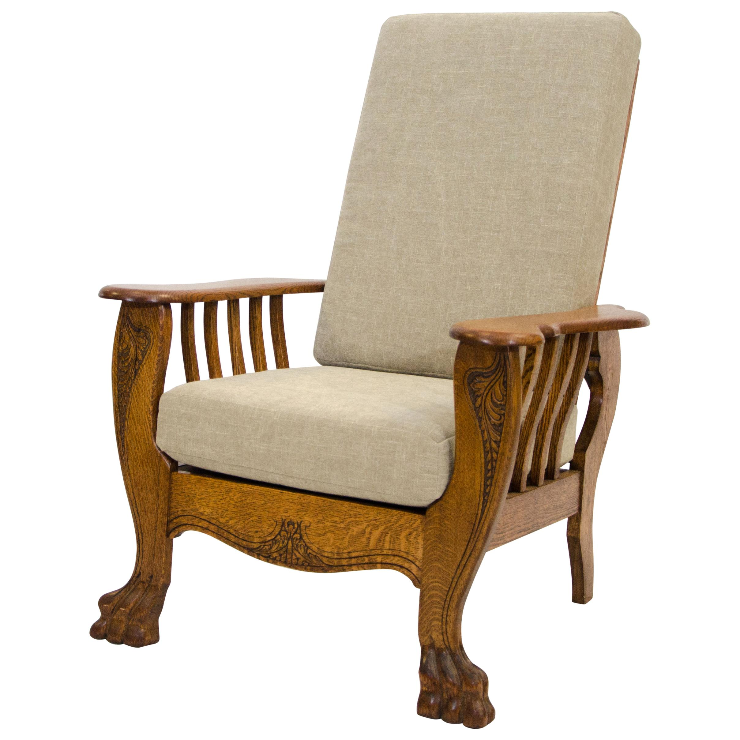 High Back Antique Oak Morris Reclining Chair Claw Feet  sc 1 st  1stDibs & Morris Chair Recliner For Sale at 1stdibs