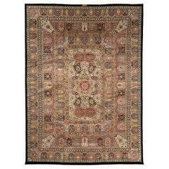 Pakistan Cathedral Panel Rug Very Fine Hand-Knotted Wool Carpet