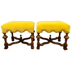 Pair of Henredon Walnut Golden Yellow Upholstered Nailhead Stools or Ottomans