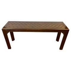 Henredon Mid-Century Modern Dark Walnut Campaign Style Console Table
