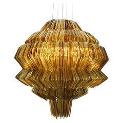 Contemporary Jacopo Foggini Pendant Gold and Brown Polycarbonate Italian Lamp
