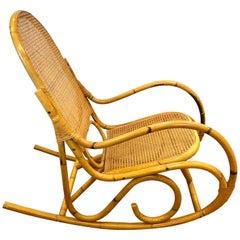 Mid-Century Modern Bamboo Rocker Rocking Chair