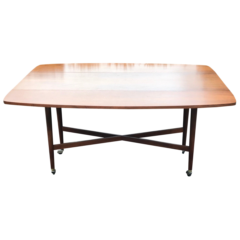 Mid-Century Modern Walnut Drop-Leaf Dining Table by Drexel, 1960s