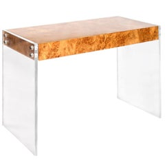 Bond Burled Wood and Lucite Desk