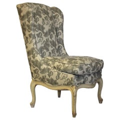 French Provincial Louis XV Style Slipper Type Wing Chair