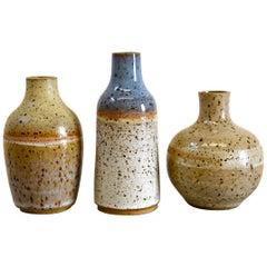 Set of Three Wheel-Thrown Ceramic Stoneware Mini Bottles by Signe Yberg
