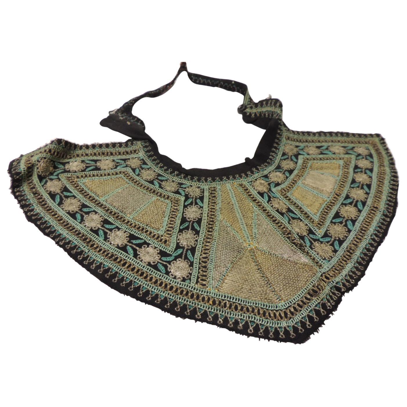 Vintage Asian Embroidered Silk Dress Collar