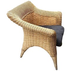 Art Deco Midcentury Garden Rattan Patio Wicker Armchair