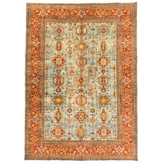 New Afghanistan Transitional Rug Light Blue Field with Vines of Medallions