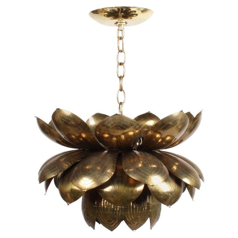 Large Feldman Lighting Company Brass Lotus Chandelier For Sale