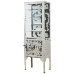 Vintage Medical Iron Display Cabinet, 1940s