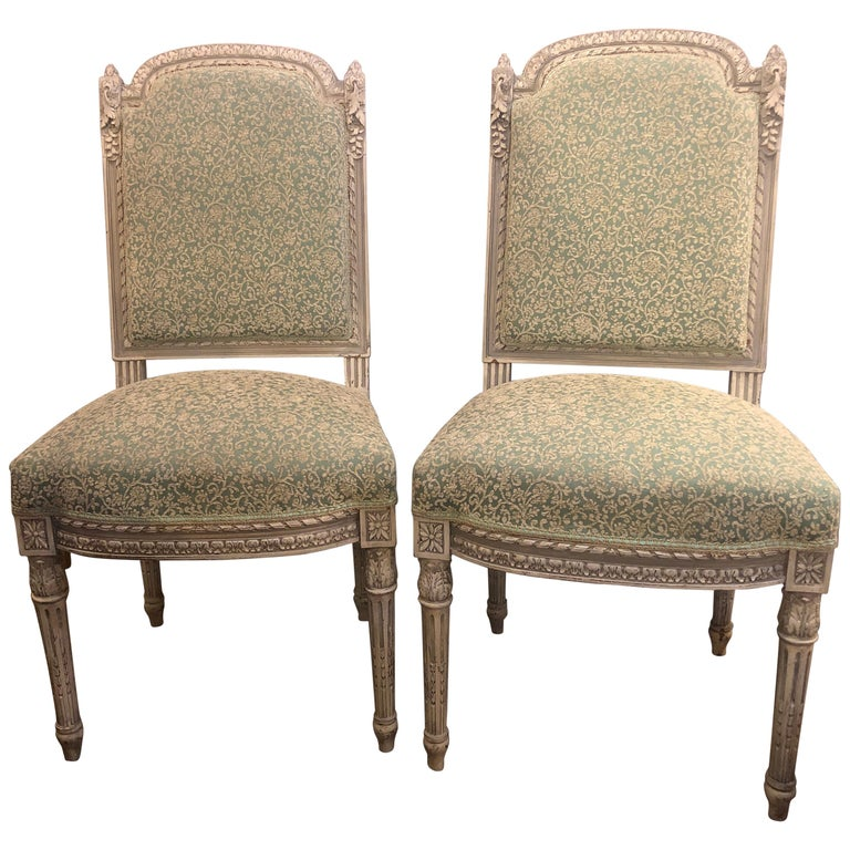 Pair of 19th-20th Century Paint Decorated Louis XVI Style Swedish Side Chairs For Sale