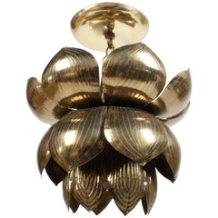 Medium Feldman Lighting Company Brass Lotus Chandelier or Pendant