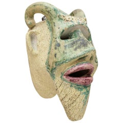 Heavy Vintage Devil Wall Mask in Ceramic, 1970s