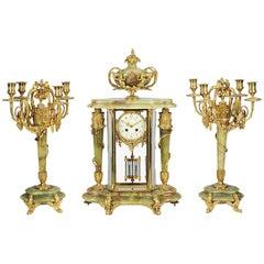 Louis XVI Style Onyx and Ormolu Clock Set, 19th Century