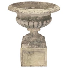 Large Round English Garden Stone Planter or Urn on Square Plinth