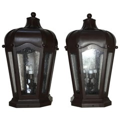 Pair of Handcrafted Solid Brass Post Lantern