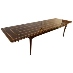 Tommi Parzinger Mid-Century Modern Mahogany Charak Modern Two Leaf Dining Table