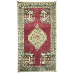Raspberry Vintage Anatolian Turkish Rug
