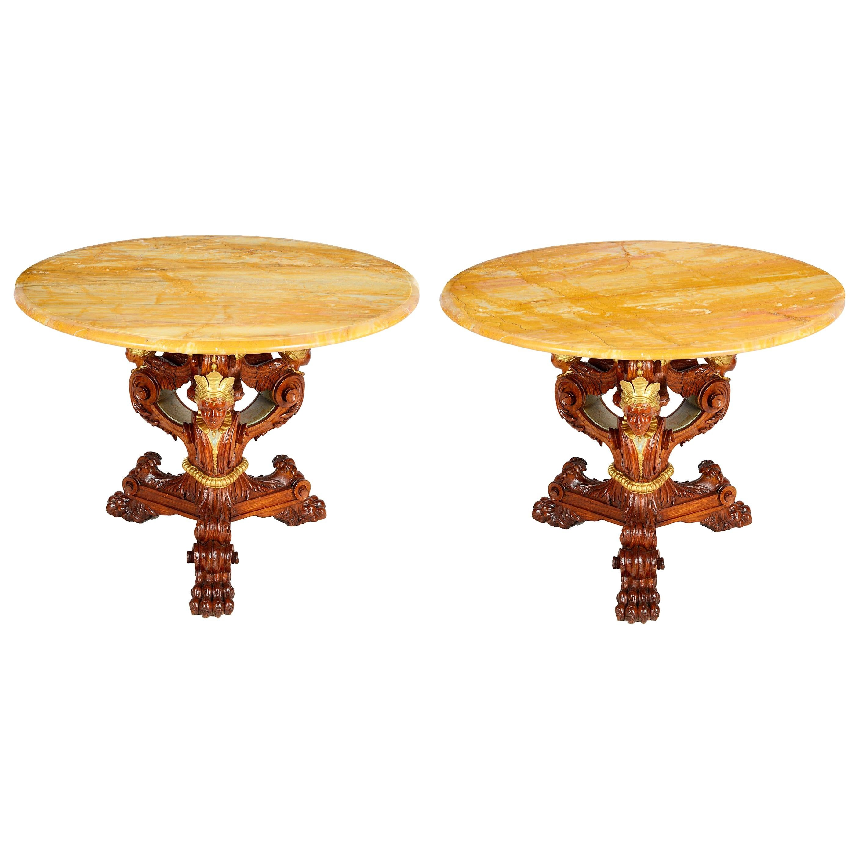 Pair of Classical Empire Style Side Tables
