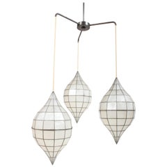 Large Mid-Century Three-Arm Tiered Capiz Shell Teardrop Chandelier