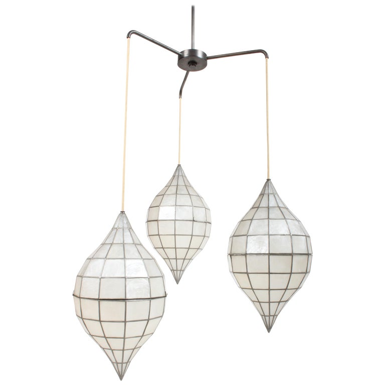 Large Mid-Century Three-Arm Tiered Capiz Shell Teardrop Chandelier For Sale