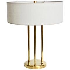 Stewart Ross James for Hansen Buffed Brass Triple Column Table Lamp, 1950s