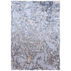 Contemporary Abstract Blue and Grey Silk Rug