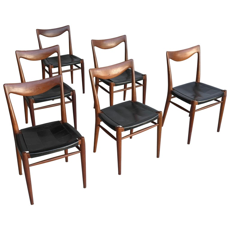Rastad and Relling Six Bambi Dining Chairs in Teak and Leather by Gustav Bahus For Sale