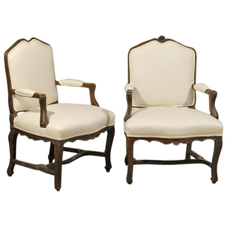 Pair of 18th Century Walnut Arm Chairs from Rhone Valley For Sale