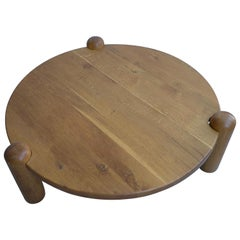 Extra Large Oak Round Coffee Table in Style of Charlotte Perriand, France, 1960s