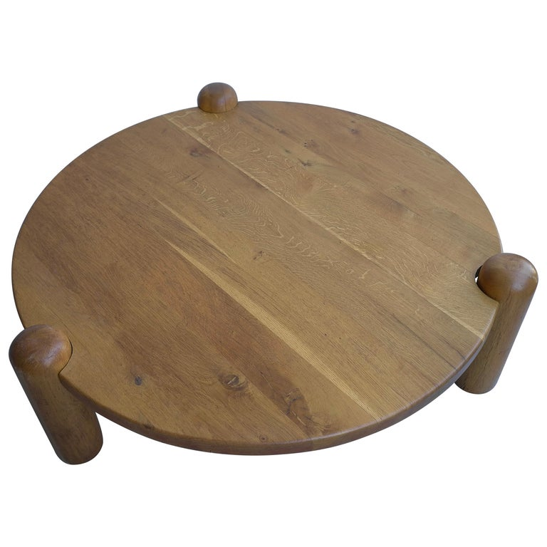 Extra Large Coffee Tables: Extra Large Oak Round Coffee Table In Style Of Charlotte