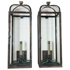 Pair of Handcrafted Solid Bronze and Brass Wall Lantern