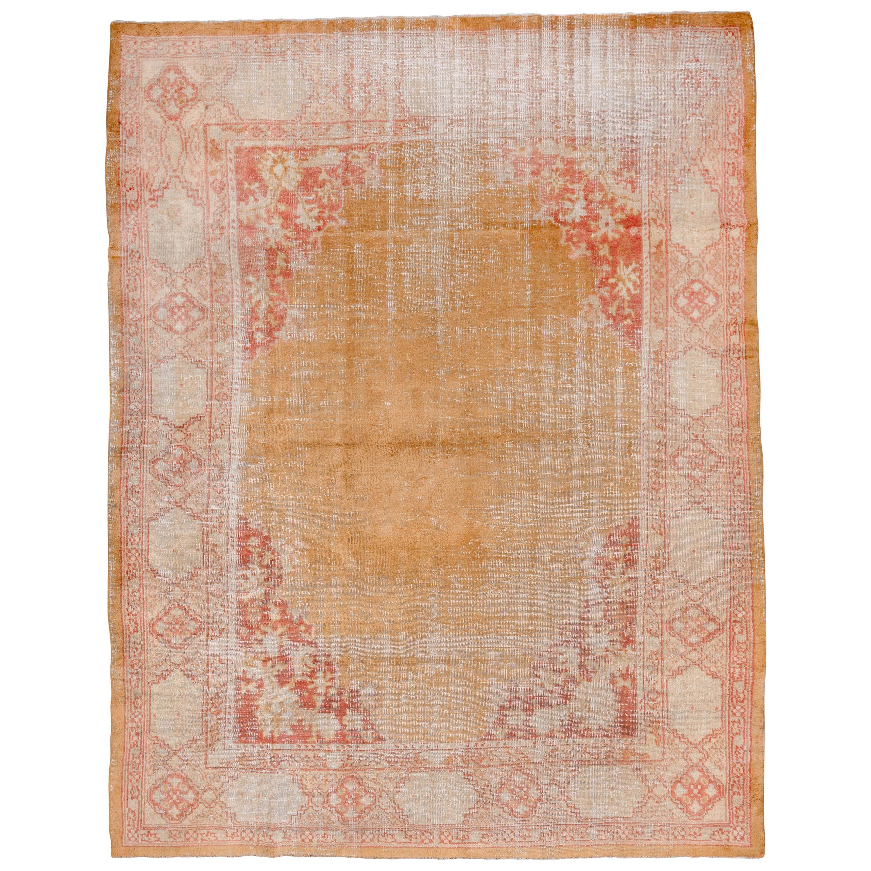 Turkish Oushak Carpet, Yellow Field, Lightly Distressed