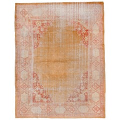 Turkish Oushak Carpet, Yellow Field, Lightly Distressed