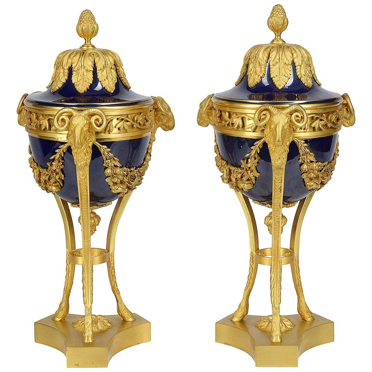 Pair Sevres Style Porcelain and Ormolu Urns For Sale