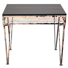 Vintage Iron Table with Black Wood Top
