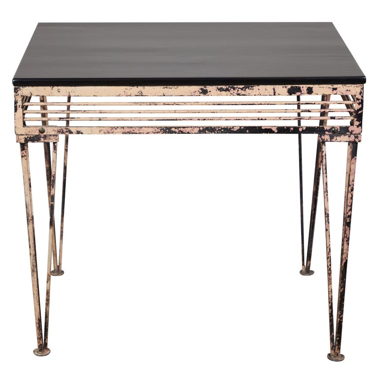 Vintage Iron Table with Black Wood Top For Sale