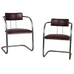 Art Deco Tubular Chrome Chairs Pair