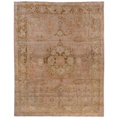 Turkish Oushak Carpet, Light Pink Field, circa 1910s