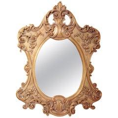 20th Century Italian Neapolitan, Louis Philip, Hand Carved Wood, Mirror