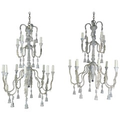 2-Tier Painted Cream Colored Chandeliers with Tassels by Melissa Levinson