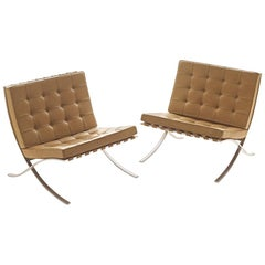 Classic Pair 1960s Barcelona Chairs in  Leather..Mies Van Der Rohe or Knoll