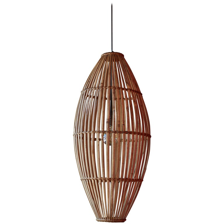 Rattan Hanging Pendant Lamp For Sale