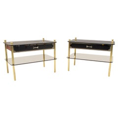 Lovely Pair Smoked Glass and Brass Night Stands, Germany, 1970s