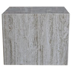 Travertine Pedestal or Side Table, circa 1975